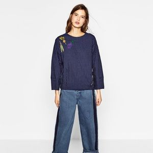 ZARA Vegetable Embroidered Striped Top